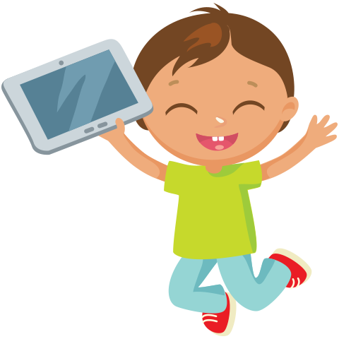 Boy jumping with eBook